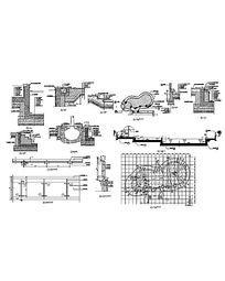 椭圆弧形游泳池树池施工详图CAD