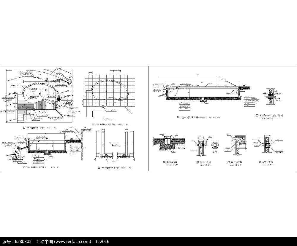 椭圆形游泳池平立面详图CAD图片
