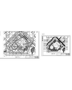 正方形圆形游泳池铺装详图CAD