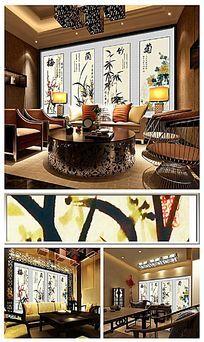 梅兰竹菊古典中式茶坊背景墙