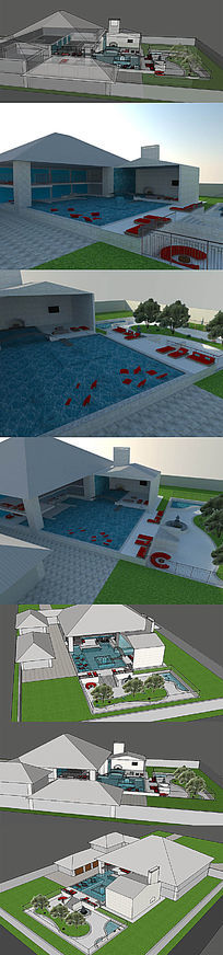 度假休闲游泳池SU模型