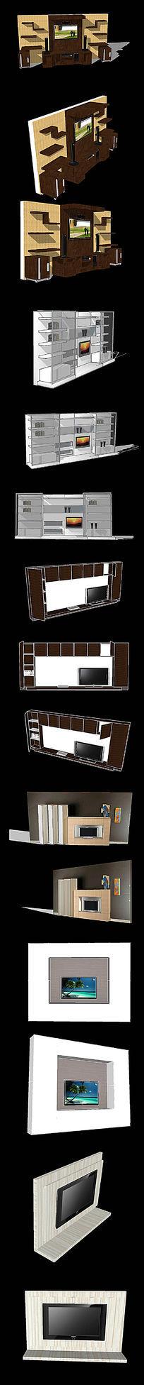 六款电视背景墙SU模型设计