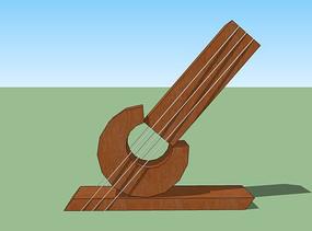 简易吉他木雕小品模型