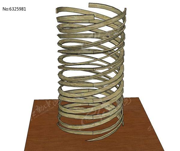 双螺旋木雕小品模型图片