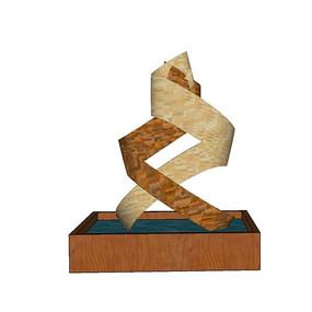 丝带结木雕小品模型