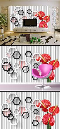 3D立体花卉花朵方框电视沙发背景墙画