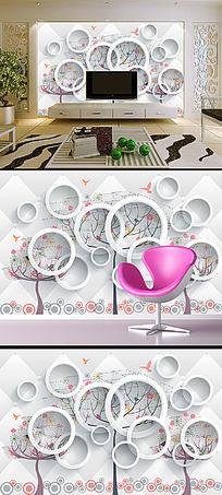 3D立体手绘花卉花纹电视沙发背景墙画