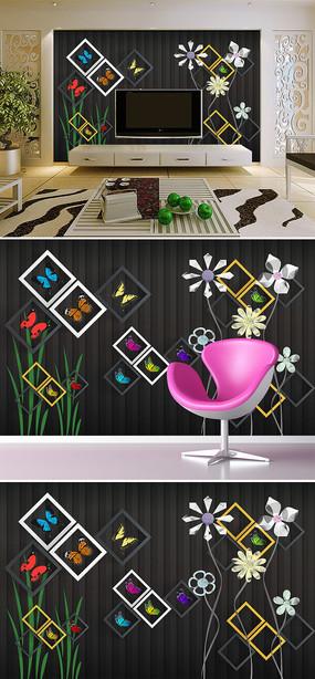 花朵方框现代时尚电视背景墙