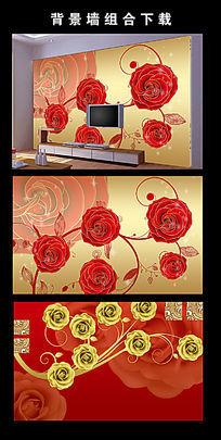 玫瑰花电视背景墙装饰画图片设计下载