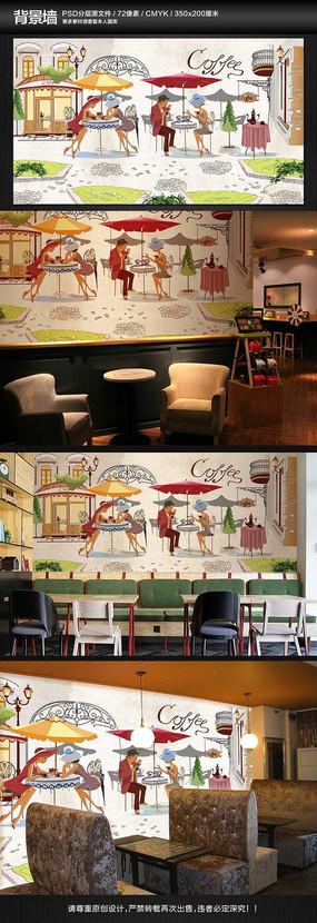 手绘怀旧街角景咖啡馆墙纸背景墙壁画