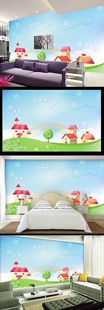 儿童梦幻手绘电视背景墙