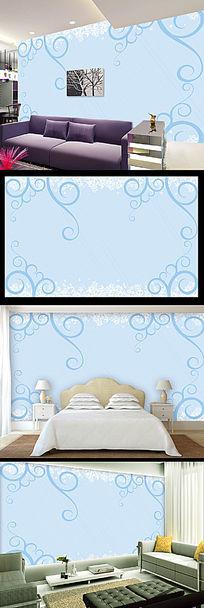 蓝色简约线条花纹背景墙