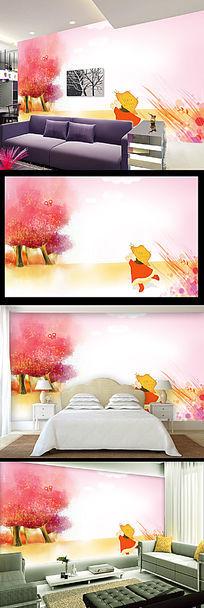 秋天的童话卡通背景墙装饰画