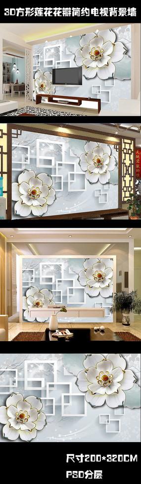玉雕百合方形3D电视背景