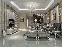 3D简约大客厅模型与效果图