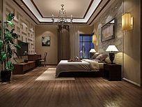 3D简中式客厅模型与效果图