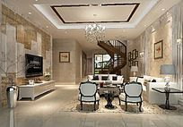 3D中式客厅餐厅模型与效果图