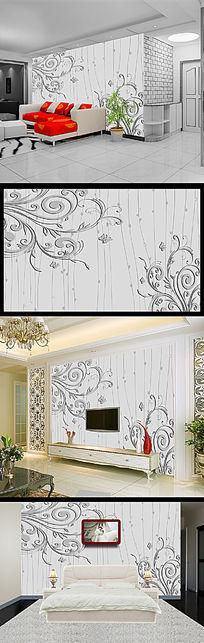 欧式蝴蝶花纹花藤3D背景墙壁画