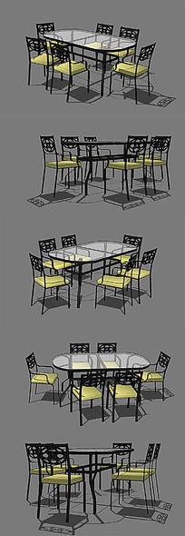 欧式简单的玻璃餐桌椅子SU模型