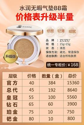 气垫BB霜化妆品价格表