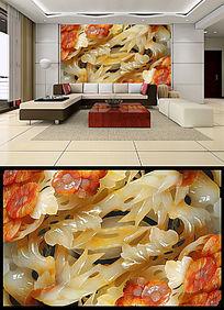 高清玉雕古典壁画电视背景墙设计