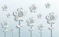3D简约时尚立体花朵背景墙