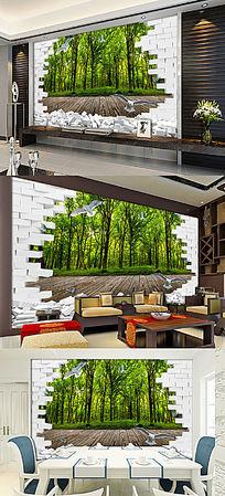 3D立体树林风景客厅电视背景墙图片