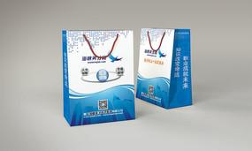 蓝色商务极简主义手提袋VI设计