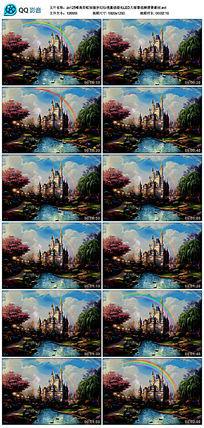 唯美彩虹城堡梦幻仙境童话婚礼背景素材