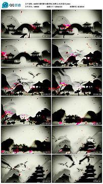 中国元素水墨荷花仙鹤山水背景视频