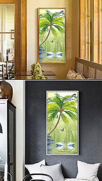 天鹅湖椰子树挂画玄关图片