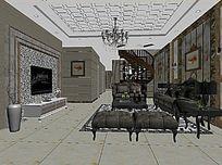 3D简欧暖色调客厅模型与效果图