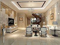 3D简欧温馨的大客厅模型与效果图