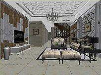 3D简欧中性色彩客厅模型与效果图