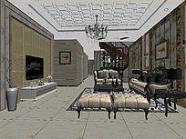3D简约浅褐色客厅模型与效果图