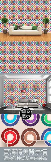 彩色圆环无限四方连续图案背景墙