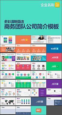 多彩清新简洁商务团队公司简介PPT模板
