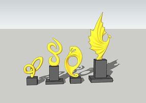 多款现代雕塑小品模型