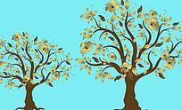 现代发财树背景墙
