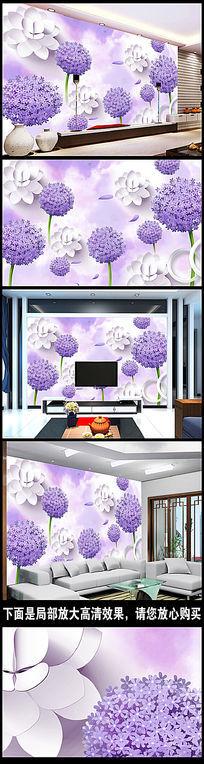 浪漫蒲公英3D电视背景墙