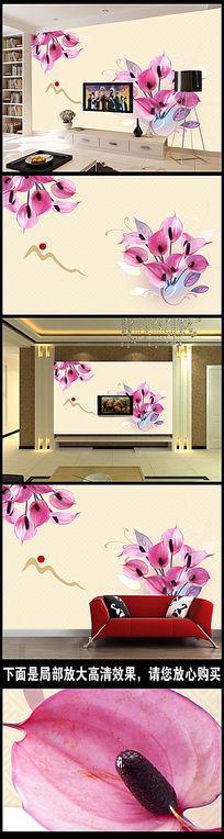 手绘现代简约北欧素雅花朵背景墙装饰画