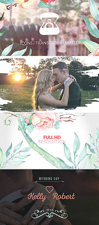 水墨婚礼视频包装漏光调色模板
