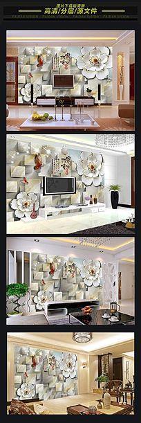 中式简欧风3D背景墙