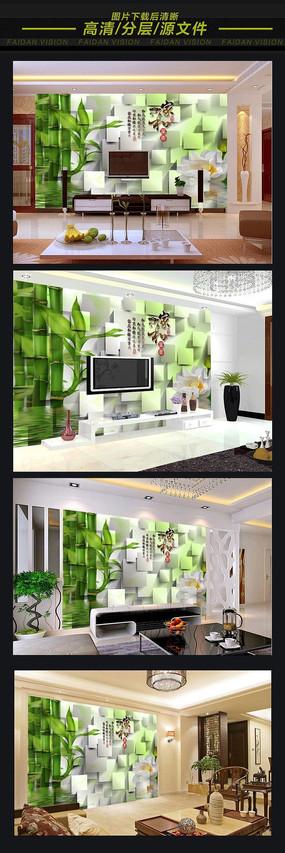 家和富贵竹3D电视背景墙