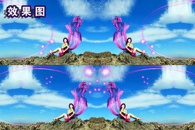 蓝天白云唯美婀娜多姿秀丽影视频