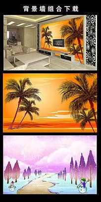 手绘大树椰子树背景墙图片设计下载