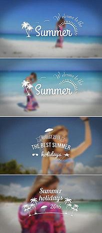 夏季海滩度假字幕标题排版动画视频模板