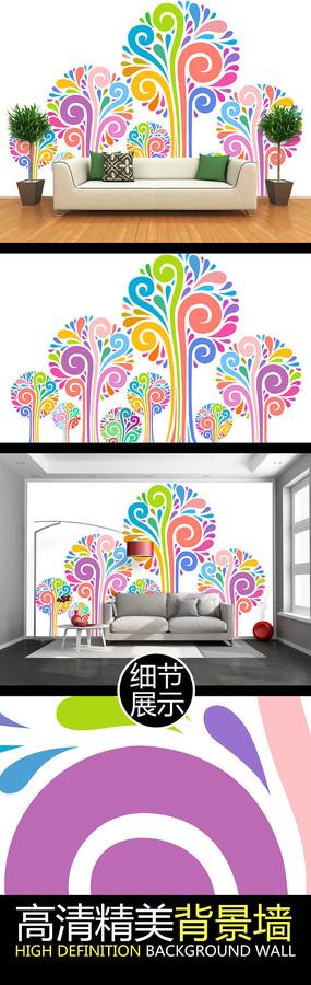 手绘缤纷抽象树林简约背景墙