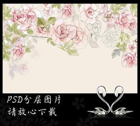 手绘玫瑰花卉背景墙