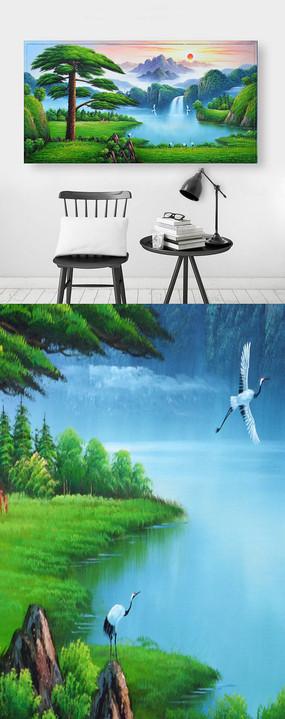 高清日出仙鹤迎客松背景墙图片